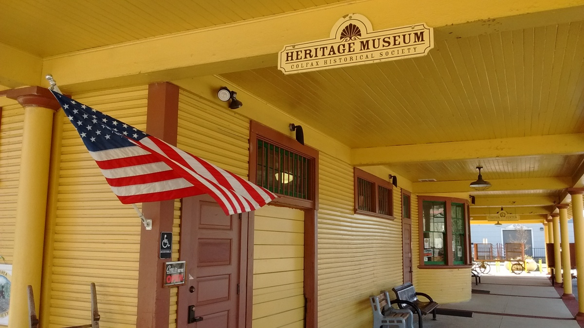 This is a view from the outside of the Colfax Area Heritage Museum in Colfax, California.
